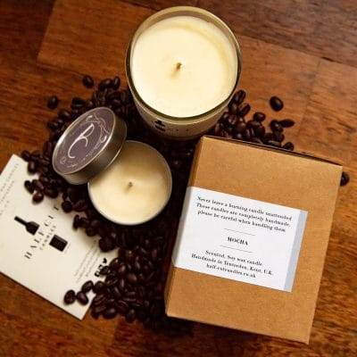 Mocha scented candle by Half-cut candles - Made from Recycled Wine Bottles - Unique scented candle