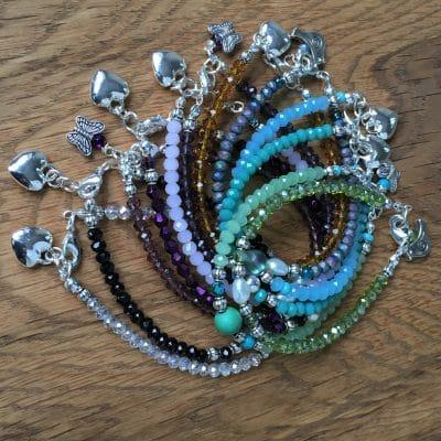 F&M De Santis Jewellery's British Handmade Faceted Glass Bead Bracelet with Charm