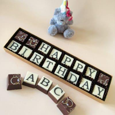 Happy Birthday Chocolate Message - Cathryn Cariad Chocolates - Best Birthday Chocolate Message