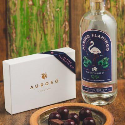 Aurosó Chocolate - Albino Flamingo Gin Bon Bons - Individual Chocolates Filled With a Ganache of Albino Flamingo Gin