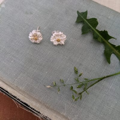 Rebecca Oxenham Jewellery-Daisy Stud Earrings - Silver with Gold Plating-Best Daisy Stud Earrings