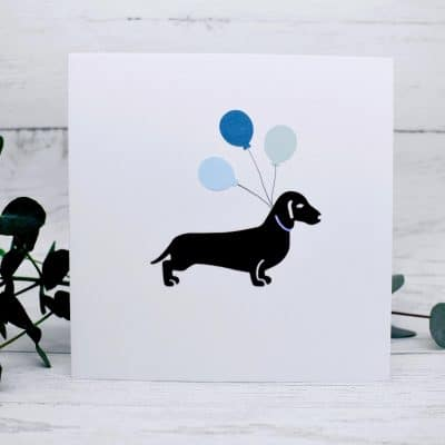 Handmade Gift Card - Dachshund with balloons - Caroline Design - handcrafted cards