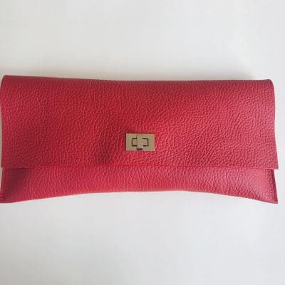 The Little Clutch Bag Company - Rosie Red - Handmade Leather Clutch Bag - Grain leather handmade clutch bag