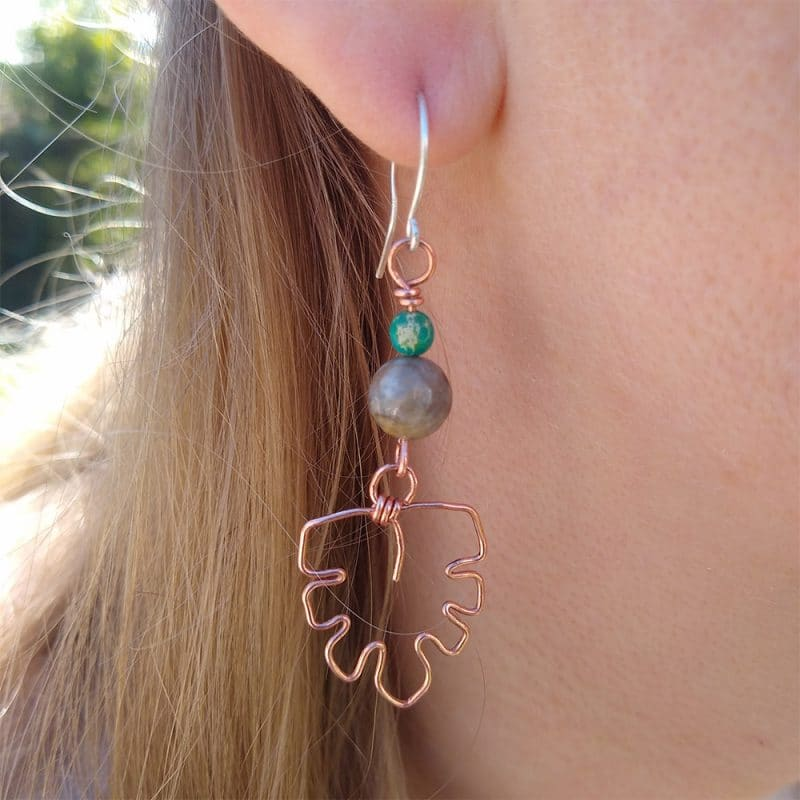 Blue Flame Silver BFS1018 Copper monstera leaf earrings with turquoise sea sediment Jasper beads with silver ear wires