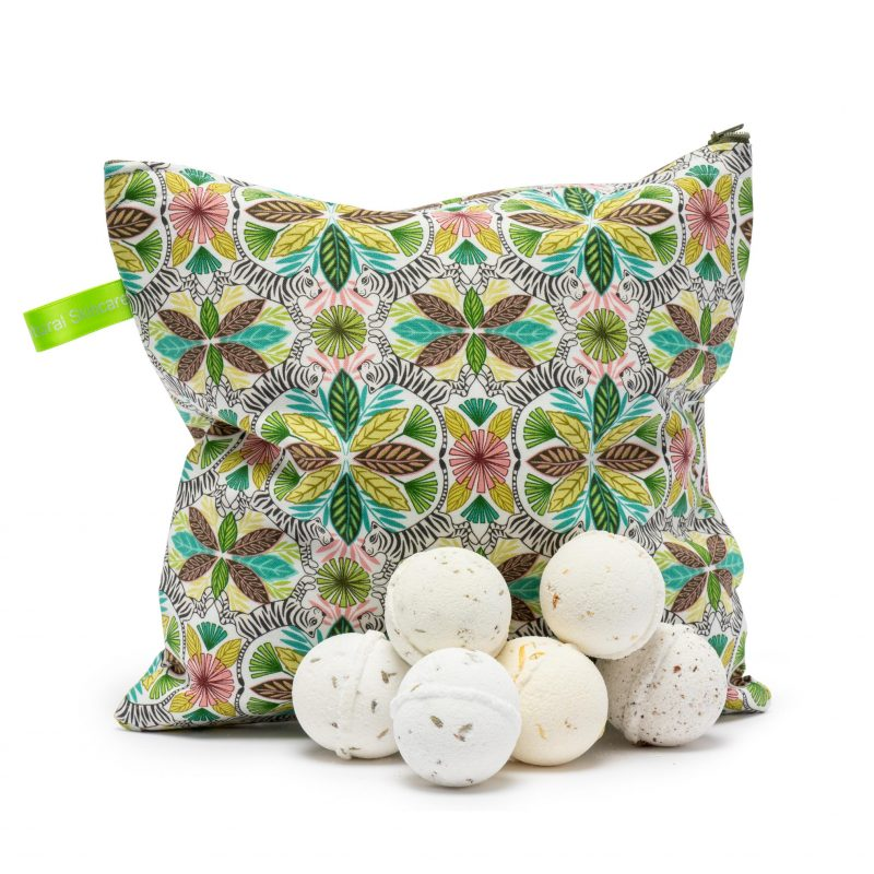 British-made Bath Bomb Gift Set - 6 bath bombs in a beautiful carry bag that can be reused as a toiletries case.