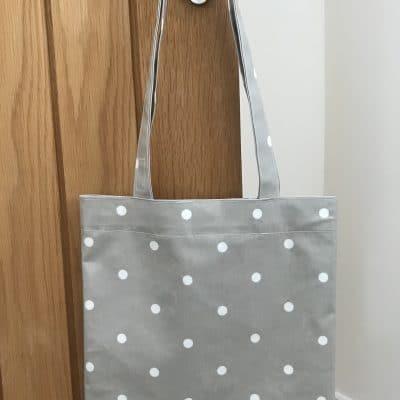 Plush Nugget - Tote Bag - Shoulder Bag - Grey Spotted Dot Patterned
