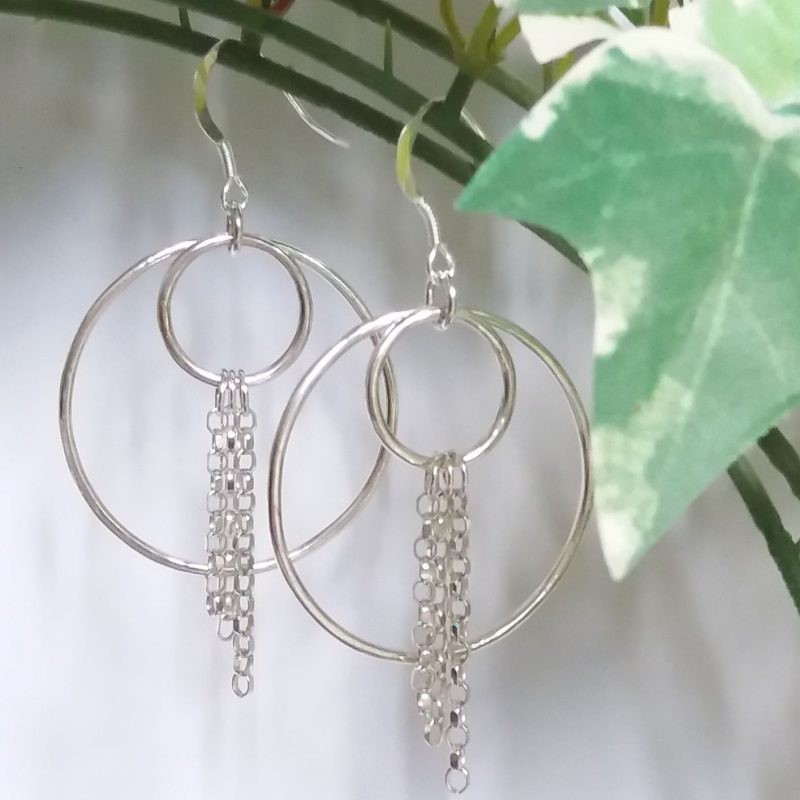 Silver and Chain Long Earrings - Betwixt Accessories - Unique, hand made, sterling silver dangling earrings